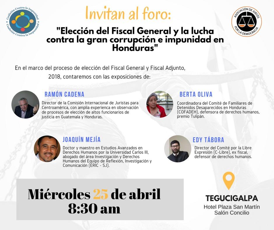Elección del Fiscal y la lucha contra la gran corrupción e impunidad en Honduras