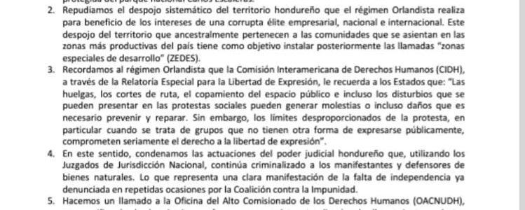 Comunicado de la Coalición contra la Impunidad: ¡CESE LA REPRESION, REGIMEN ORLANDISTA!