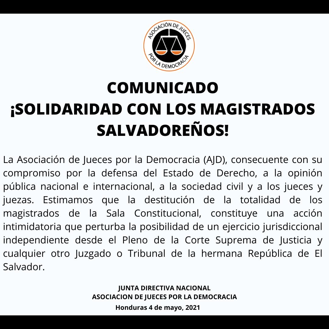 Comunicado: ¡SOLIDARIDAD CON LOS MAGISTRADOS SALVADOREÑOS!