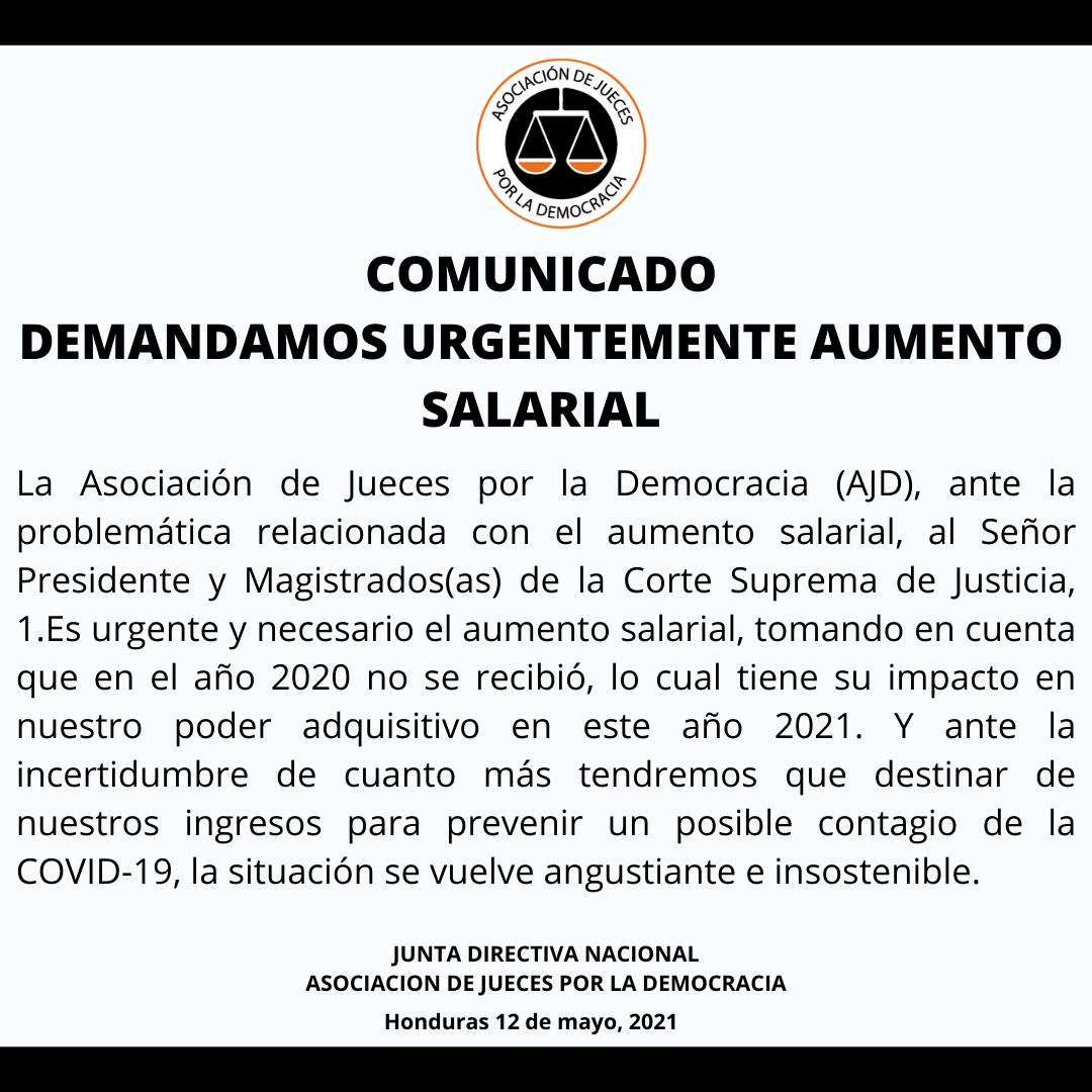 COMUNICADO: Demandamos urgentemente aumento salarial