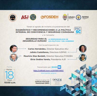 COMUNICADO: Organizaciones de Sociedad Civil presentan Diagnóstico y Recomendaciones a la Política Integral de Convivencia y Seguridad Ciudadana